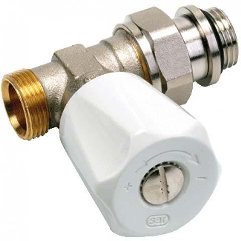 Een radiatorkraan, met een witte draaiknop. Slimme thermostaatknoppen zijn niet geschikt voor dit soort kranen.