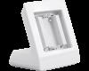 De tafelstandaard vervangt de batterijen die achterin de thermostaat, bewegingsmelder of drukknop nodig zijn.