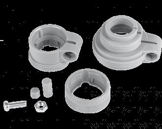 De afsluiter adapter set wordt geleverd met schroef, moer en verlengstiften voor de pen van de afsluiter.