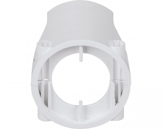 De beveiliging bestaat uit twee delen: een bovenste en een onderste gedeelte, die met twee schroeven en moeren stevig om de montagering van de thermostaatknop bevestigd worden.