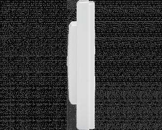 De dikte van de drukknop is slechts 19mm. De drukknop zelf is 55 x 55 mm. Het gehele product, met afdekraam, meet 86 x 86 mm.