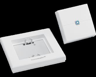 De drukknop bestaat uit drie onderdelen: montagevlak, afdekraam en draadloze drukknop. De twee AAA-batterijen worden standaard meegeleverd.