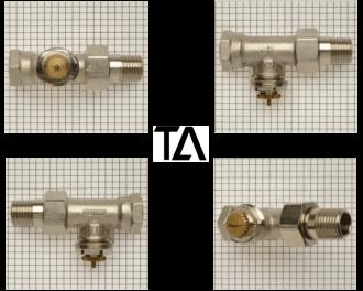 """De M28 afsluiter adapter past op TA afsluiters. Dit zijn foto's van TA afsluiters. Het logo op de afsluiter is uitgeschreven in de letters """"TA""""."""