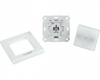 De schakelaar bestaat uit drie onderdelen: De grijze basismodule die ingebouwd wordt in een inbouwdoos, een afdekraam en het wipvlak met de LED signaallamp.