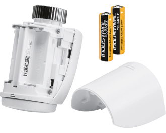 De thermostaatknop werkt op twee meegeleverde AA penlite batterijen. Deze gaan gemiddeld 1,5 jaar mee voordat ze leeg zijn.