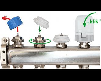 Een stappenmotor is eenvoudig te installeren. Verwijder de afdekkap, draai de bij de stappenmotor meegeleverde afsluiter adapter op de groepafsluiter, en klik de stappenmotor op de adapter.