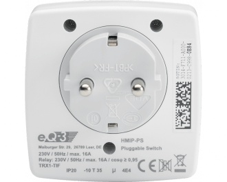 Het ingebouwde relais kan maximaal 3680 Watt schakelen. Dit is 16 Ampere, de volledige kracht van een groep in de meterkast. Dit model (HmIP-PS), heeft geen ingebouwde energiemeter.