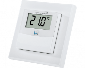 De Homematic IP temperatuursensor met display meet temperatuur en luchtvochtigheid en is geschikt voor opbouw montage aan de wand.