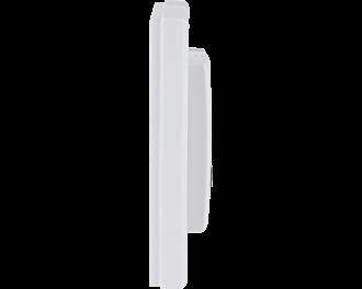 De temperatuursensor is slechts 25mm dik. Het gehele product, met afdekraam, meet 86 x 86 mm.