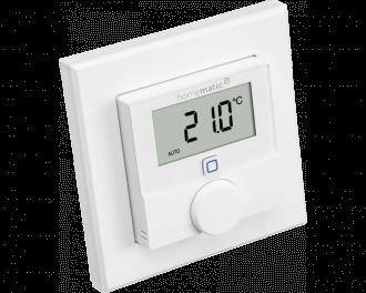 De thermostaat is draadloos en stuurt Homematic IP thermostaatknoppen, zoneregelaars en schakelaars voor elektrische verwarmingen aan.