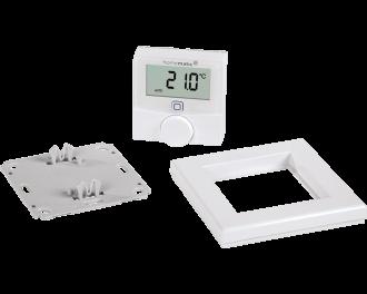 Het product bestaat uit drie onderdelen: montagevlak, frame en draadloze thermostaat. De twee AAA-batterijen worden standaard meegeleverd.