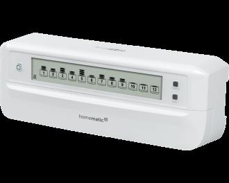 De Homematic IP proportionele zoneregelaar stuurt vloerverwarming en vloerkoeling aan per kamer, gevoed door een warmtepomp. Er kunnen meerdere zoneregelaars toegepast worden in een huis.
