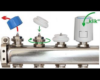 Een thermische motor is eenvoudig te installeren. Verwijder de afdekkap, draai de juiste afsluiter adapter op de groepafsluiter, en klik de thermische motor op de adapter.
