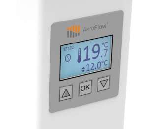 De radiator is voorzien van een ingebouwde thermostaat. Het instelbereik van de gewenste temperatuur is 5,0 °C tot 30,0 °C. Er kunnen klokprogramma's ingesteld worden voor elke dag van de week.