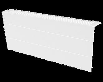Stijlvolle metalen radiatorbekleding en design front met duurzame poedercoating in kleur wit, RAL 9010. Geschikt voor 1600 Watt liggende elektrische radiator. Kan eenvoudig over de radiator geplaatst worden, zonder boren of schroeven.