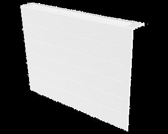 Stijlvolle metalen radiatorbekleding en design front met duurzame poedercoating in kleur wit, RAL 9010. Geschikt voor 1950 Watt elektrische radiator. Kan eenvoudig over de radiator geplaatst worden, zonder boren of schroeven.