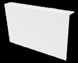 Stijlvolle metalen radiatorbekleding en design front met duurzame poedercoating in kleur wit, RAL 9010. Geschikt voor 2450 Watt elektrische radiator. Kan eenvoudig over de radiator geplaatst worden, zonder boren of schroeven.