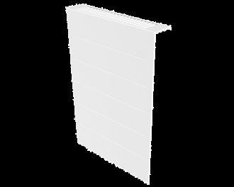Stijlvolle metalen radiatorbekleding en design front met duurzame poedercoating in kleur wit, RAL 9010. Geschikt voor 650 Watt elektrische radiator. Kan eenvoudig over de radiator geplaatst worden, zonder boren of schroeven.