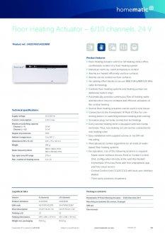 Datasheet van Homematic IP Zoneregelaar 6 kanalen - 24V