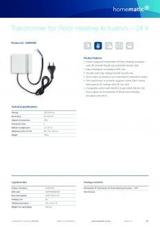 Datasheet van Homematic IP Voeding voor zoneregelaar 24V