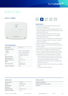 Datasheet van Homematic IP Warmtepomp module