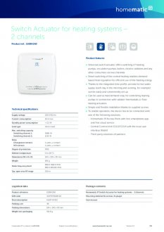 Datasheet van Homematic IP CV-ketel en warmtebron module