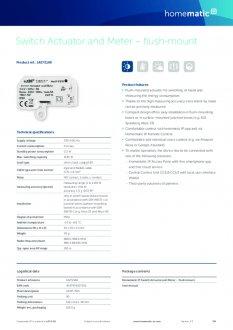 Datasheet van Homematic IP Inbouw schakel module 1150 Watt - met energiemeter