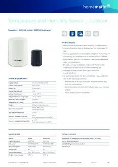 Datasheet van Homematic IP Temperatuur en luchtvochtigheid sensor buiten - wit
