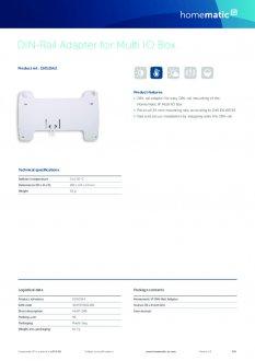 Datasheet van Homematic IP DIN-rail montagevlak voor warmtepomp module