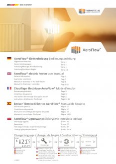 Handleiding van Thermotec Aeroflow liggende elektrische radiator met thermostaat 2000 watt