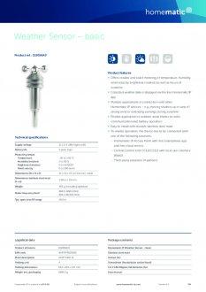 Datasheet van Homematic IP Weerstation basis