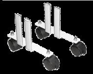 Elegante metalen wielenset voor elektrische radiatoren. De radiator kan overal in de ruimte geplaatst worden en makkelijk verplaatst worden. De wielenset klemt stevig vast in de radiator en zorgen ervoor dat de verwarming stabiel staat.
